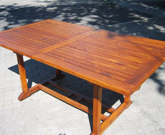 Restored and varnished outdoor table.
